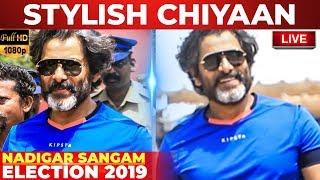 Chiyaan Vikram's Sema Stylish Entry at Nadigar Sangam Elections