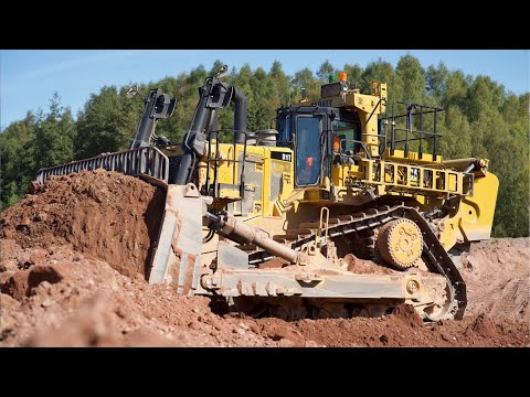 Cat D11T Dozer Ripping And Pushing Gravel.