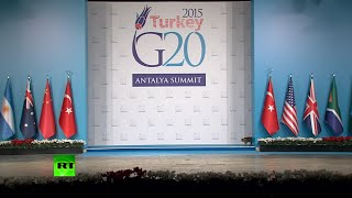 Cats stroll G20 summit venue during live transmission