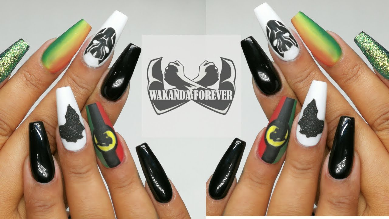 Black Panther Inspired Nail Art // Banggood 24pc Gel Set - Black Panther Inspired Nail Art // Banggood 24pc Gel Set - YouTube