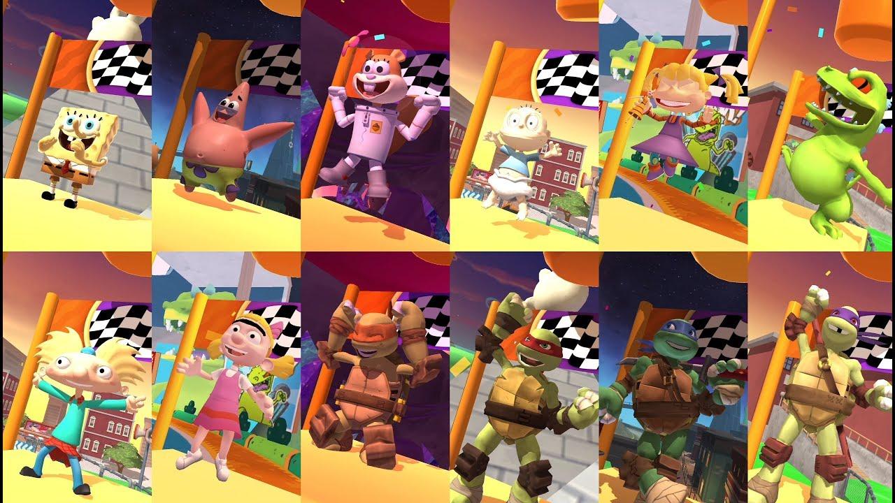 Nickelodeon Kart Racers - All Characters Winning