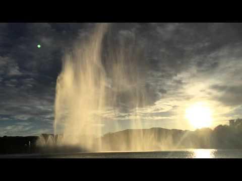 Water fountain in the sun ConAgra park Omaha