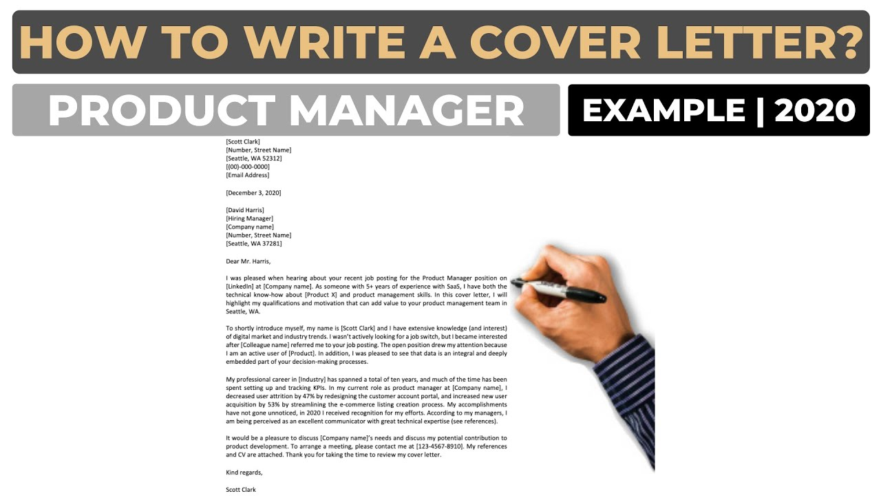 How To Write A Cover Letter For A Product Manager Position Example Youtube