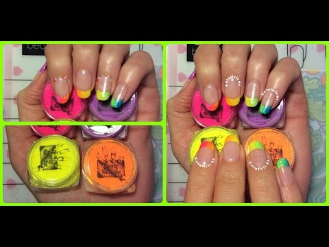 Neon French Manicure Nail Design Using GnarlyNailsinc Powders Whats ...