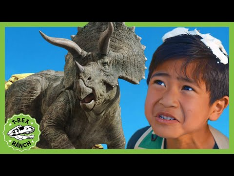 Dinosaur Kickball With Giant T-rex & Pretend Play Adventures With Dinosaurs For Kids! T-Rex Ranch