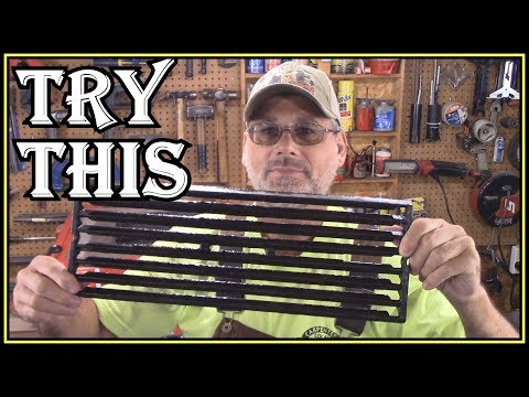 HOW TO CLEAN CAST IRON  BBQ GRATES WITH CRUSHED GLASS