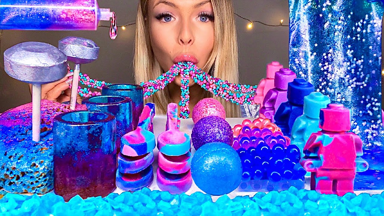 ASMR *GALAXY FOOD* EDIBLE LEGO MAN, EARTH JELLY, SPOON, SHOT GLASSES, JELLO SHOOTER, BOBA MUKBANG 먹방
