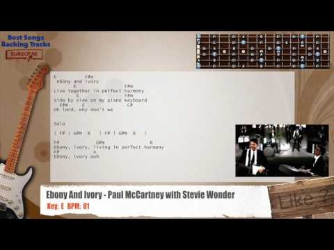 Ebony And Ivory - Paul McCartney with Stevie Wonder Guitar Backing Track with chords and lyrics