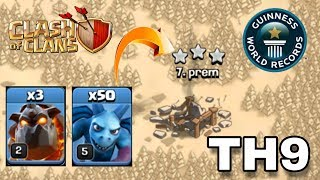 I Did It ! Townhall9 50 Minion + 3 Lavahound Attack Strategy In Clash Of Clans - Coc