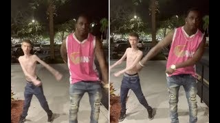 Damn Wide Neck & Daddy Long Neck Do The Backpack Kid Dance