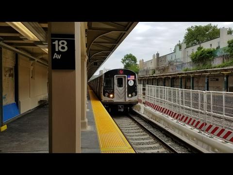 BMT Sea Beach Line: Sea Beach action along recently open Manhattan bound platforms! (5/24/17)