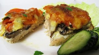 How to Make Baked Chicken Breast With Mushrooms And  Cheese - Simply Chicken Fillet Homemade Recipe