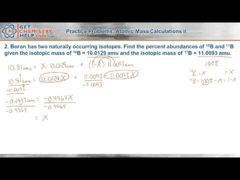 Chemistry Practice Problems: Atomic Mass Calculations II