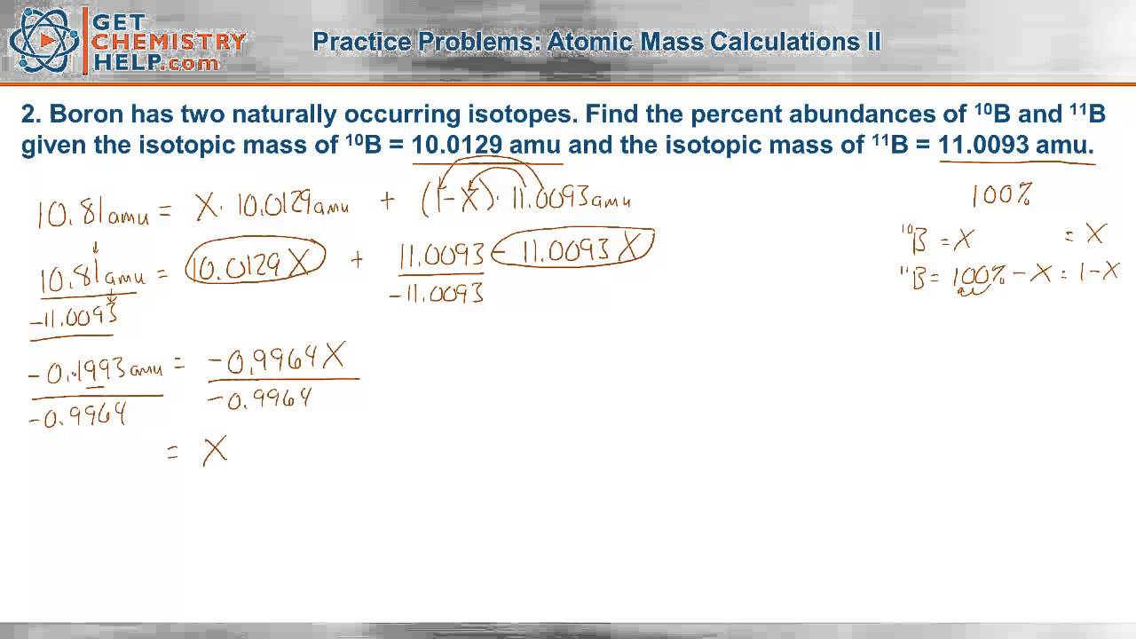 Chemistry Practice Problems Atomic Mass Calculations Ii Youtube