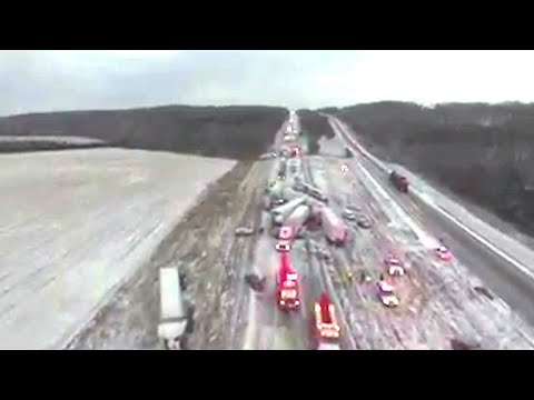 Drone video shows aftermath of 50-car pile-up in Missouri