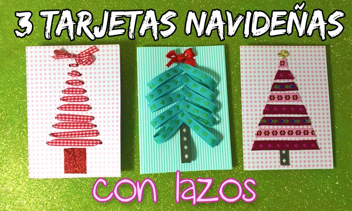 3 tarjetas caseras de navidad con lazos arboles de navidad youtube - Postales De Navidad Caseras