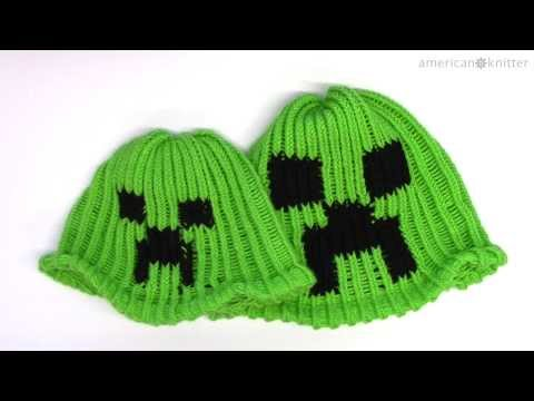 How to make a Minecraft Creeper Beanie Hat on a round loom