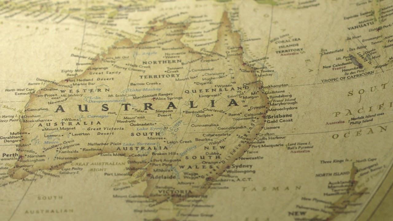 Map Of Australia Hd.Vintage Map Pan Across To Australia 2 Free Hd Stock Footage
