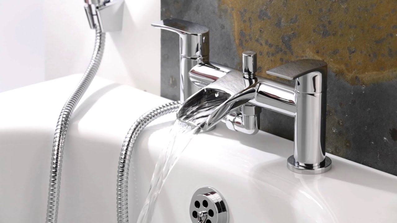 Rubinetto miscelatore bagno sopra vasca e doccia a cascata con doccetta bt0013c hudson reed - Rubinetteria a cascata bagno ...