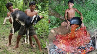 Primitive Technology - Meet The Goat And Cooking &amp Eating delicious