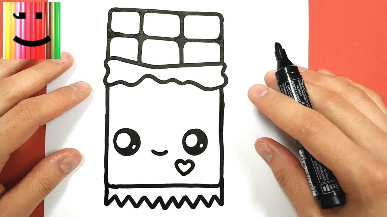 Coloriage Chocolat Kawaii.How To Draw A Kawaii Chocolate Bar