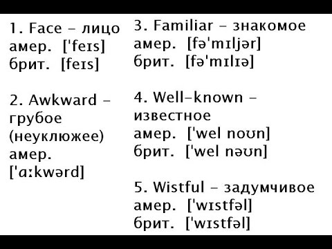 20 СЛОВ (7) Английские слова с транскрипцией и переводом