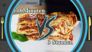 fast 30 min One-Pot Lasagna VS 3 hour recipe