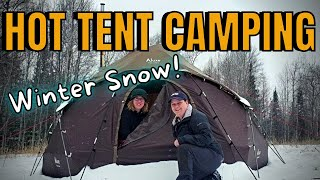 HOT TENT WINTER CAMṖING IN WISCONSIN NORTHWOODS: Luxe Hercules Hot Tent and Nomad Wood Stove