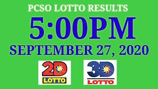 PCSO Lotto Result Today 5PM September 27, 2020, ez2, 2d, swertres, 3d,