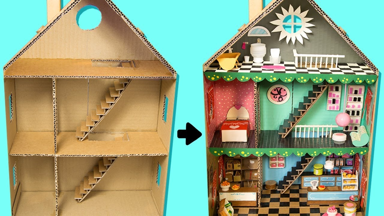 How To Make A Cardboard House With Rooms Furniture People Diy