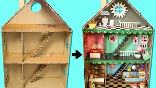 How to Make a Cardboard House with Rooms, Furniture & People | DIY Craft Ideas