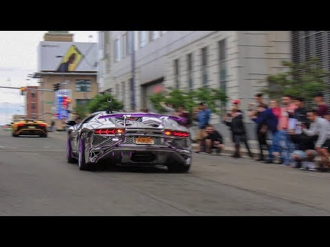 The Start Of  The GoldRush Rally - LOUD Accelerations, Ford GT, Lamborghini Aventador SV + More