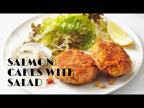 Salmon Cakes on Mixed Vegetables