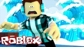 Roblox - FUJA DO TSUNAMI !! (Roblox Escape The Flooding City)