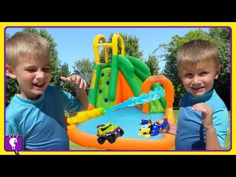 GIANT Slide! Toy Dogs Race with HobbyKidsTV