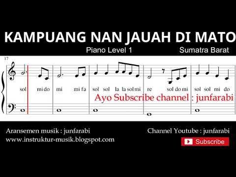 Not Balok Kampuang Nan Jauh Di Mato - Piano Level 1 - Lagu Daerah Sumatra Barat / Padang - Doremi