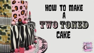 Two Toned Cake - Two Fondant Color Cake -  Two Sided Cake - Split Cake: EASY HOW TO