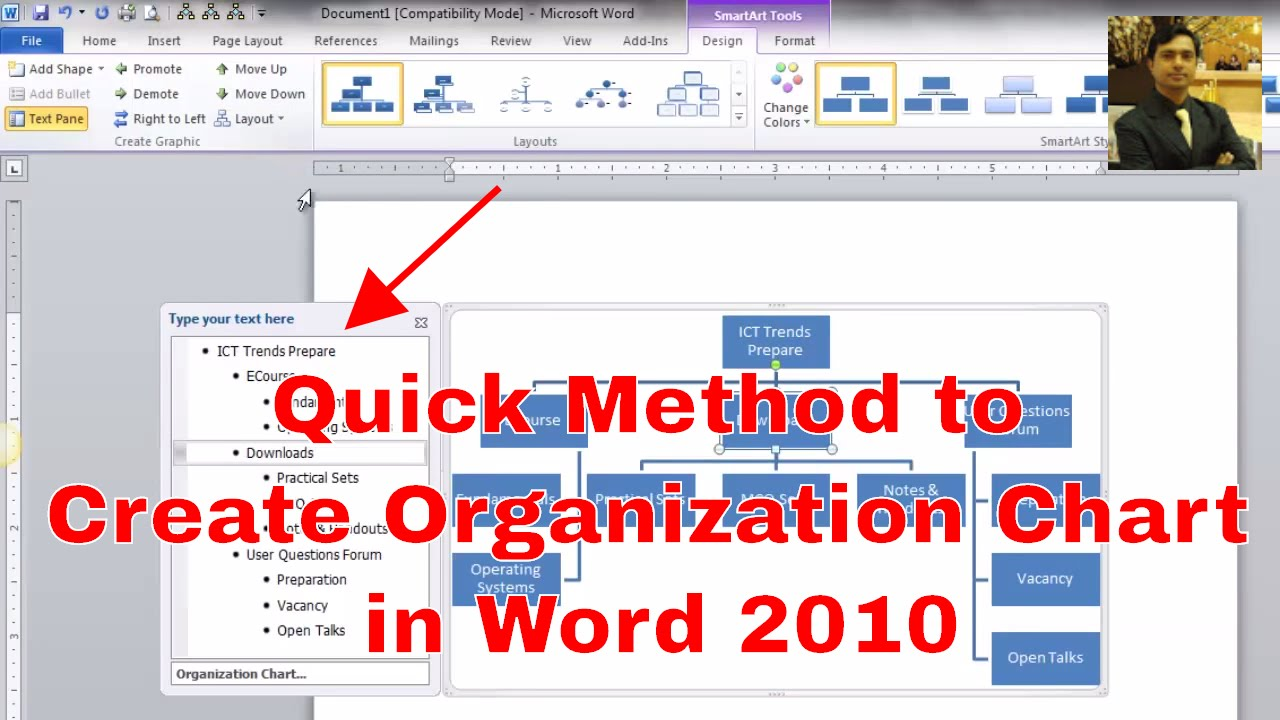 How To Make An Organizational Chart || Creating Organization Chart In Word  2016   YouTube  Ms Word Chart Templates