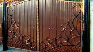 видео Кованые ворота с профнастилом: фото