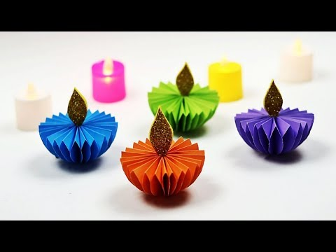 DIY Paper Diya ( Paper Candle) | Diwali Decoration Ideas At Home | Diya Decoration