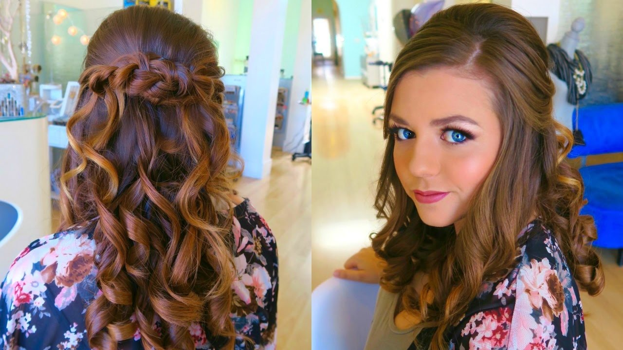 Half Up Half Down Wedding Hairstyles For Medium Length Hair: WEDDING HAIR & MAKEUP TRIAL! Bridal Hairstyle Half Up Half