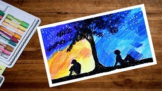 Two Different Worlds Drawing With Oil Pastel | Landscape Drawing For Beginners