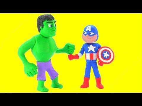 Hulk Captain America Superhero Babies Play Doh Cartoons Stop Motion Animations