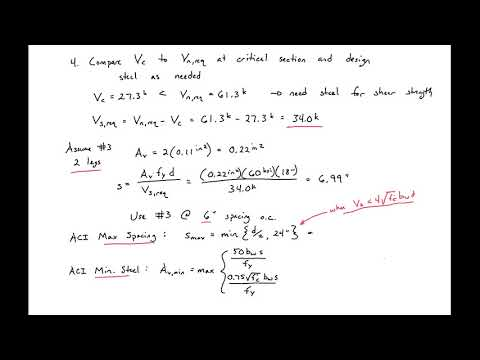 8 - Example 2 - Design for Shear Strength using ACI - YouTube