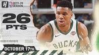Giannis Antetokounmpo Full Highlights Bucks vs Timberwolves 2019.10.17 - 26 Points, 14 Reb!