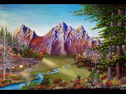 Landscape Acrylic Painting on Canvas Step By Step Timelapse / Manzara Akrilik Resim Peyzaj Tablo