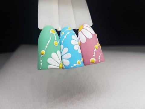 Дизайн ногтей гель-лаками.Цветы.Ромашки.Рисуем пошагово.