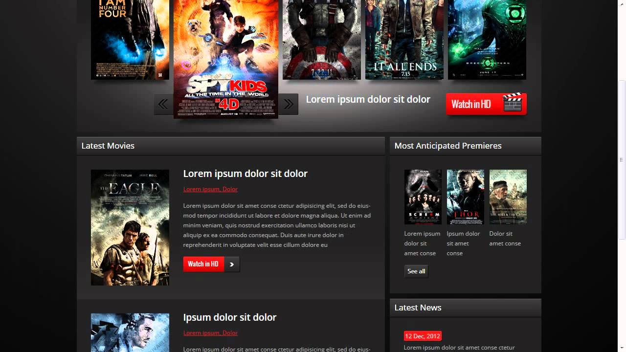 movie website template youtube