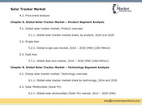 Global Solar Tracker Market - Industry Analysis, Size, Share, Trends, Segment and Forecast 2014-2020