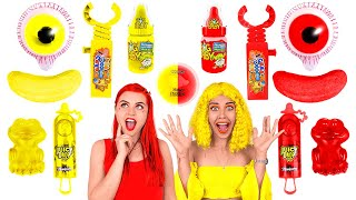 RED VS YELLOW FOOD CHALLENGE! 24 HRS Eating And Buying Everything In One Color By 123 GO! CHALLENGE